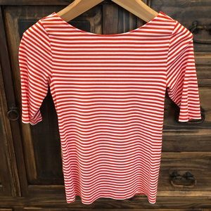 Old Navy orange and white striped top